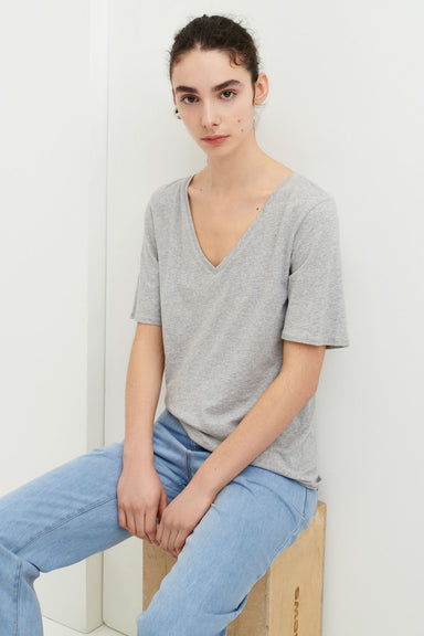 V-Neck Tee - Grey Marle