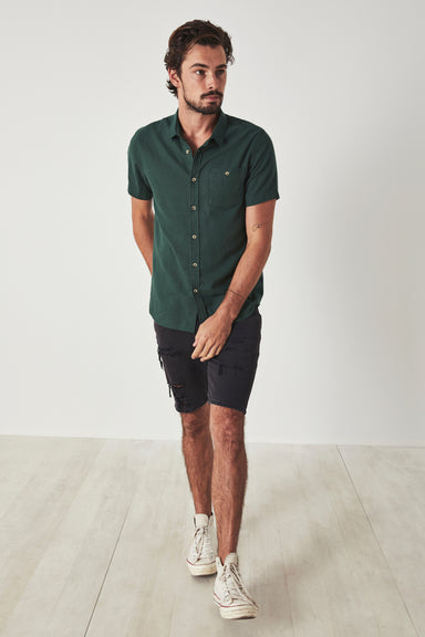 Men at Work  Linen Shirt - Dark Green