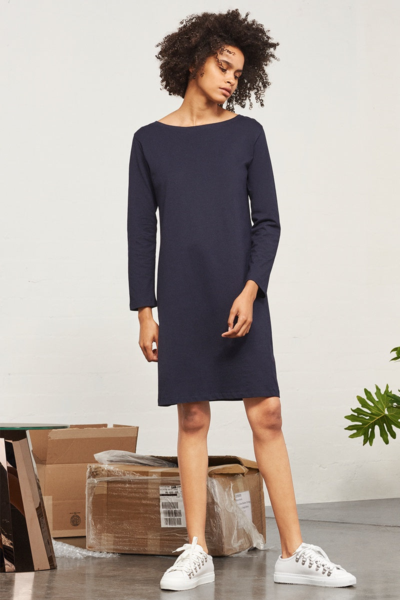Building Block Boat Neck Dress - Navy
