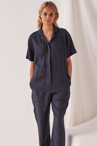 Blair Linen Boilersuit - True Navy