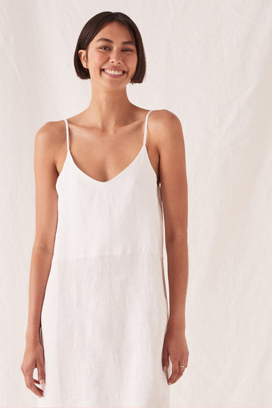 Linen Slip Dress - White