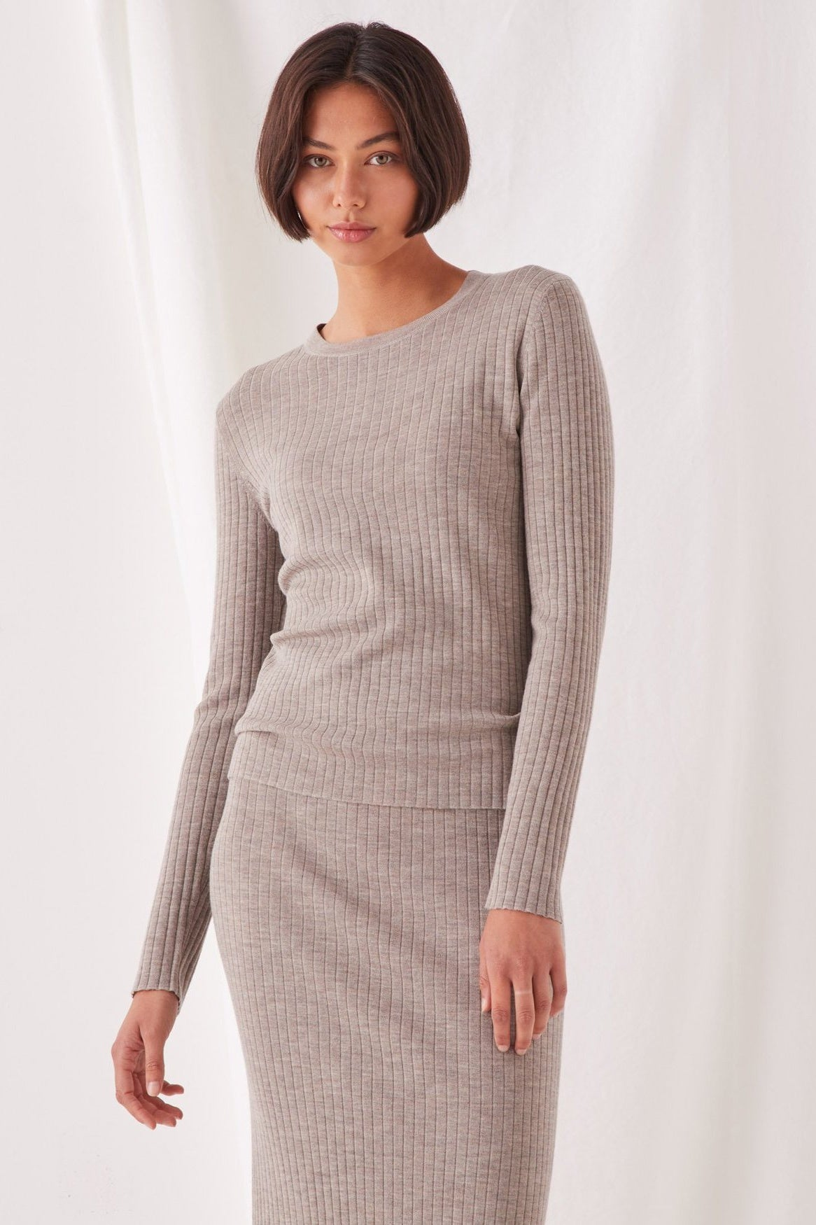 Ella Long Sleeve Knit - Washed Khaki
