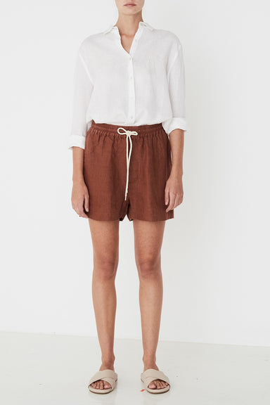 Ease Linen Short - Terracotta