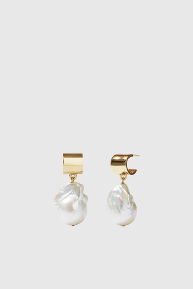Cuff Pearl Drop Earrings - Gold Plated & 9ct Gold Mix