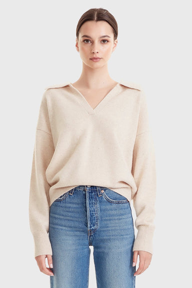 Women's Wool/Cashmere Polo Knit - Sand