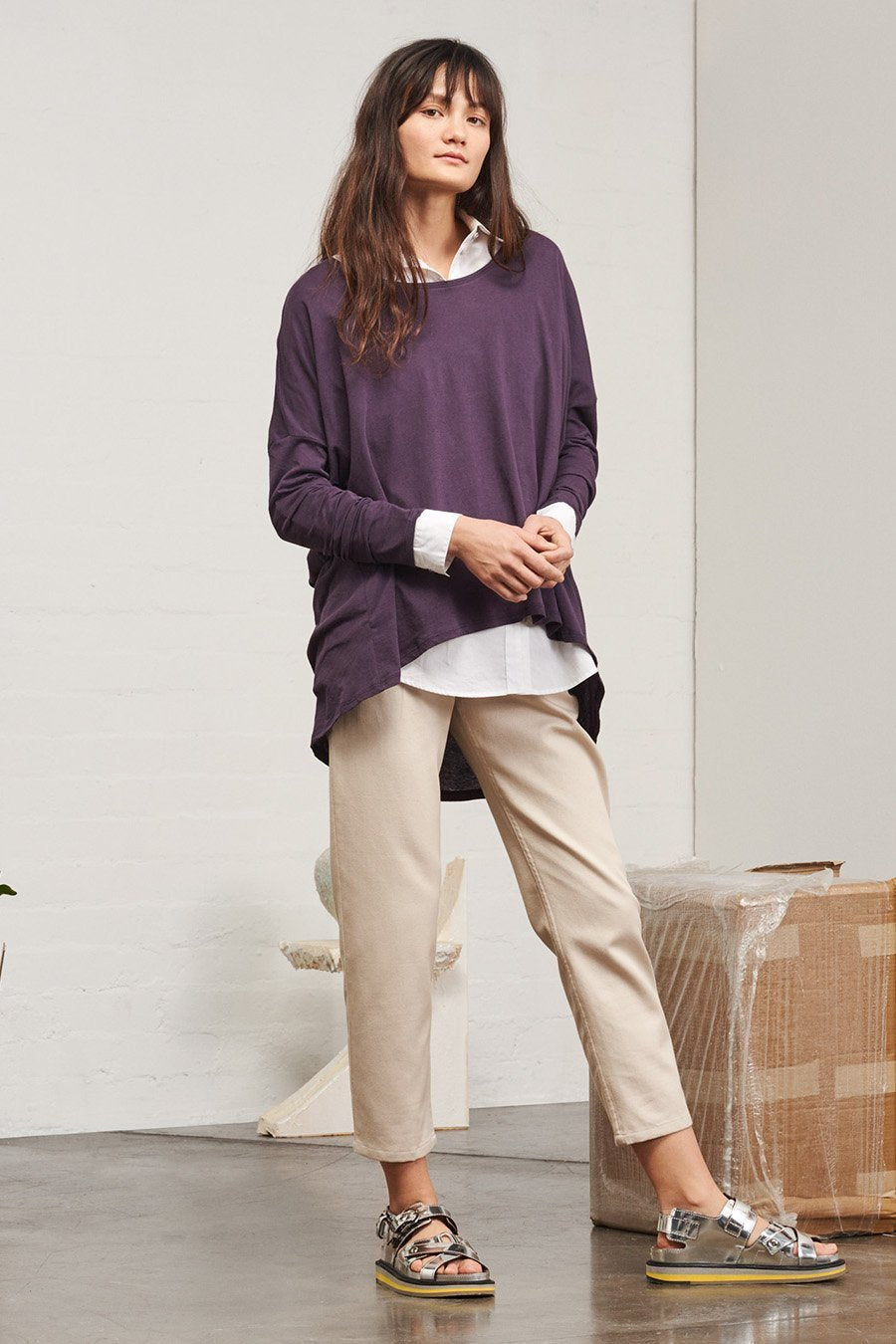 Building Block Drape Top - Plum