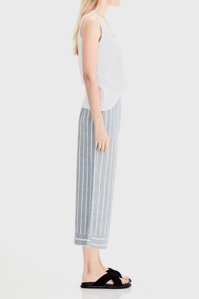 Wide Leg Cropped Pant - Blue Stripe
