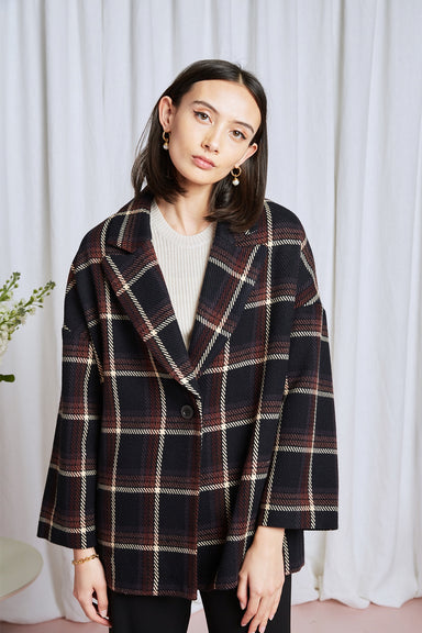 Millie Blazer - Black Plaid Wool