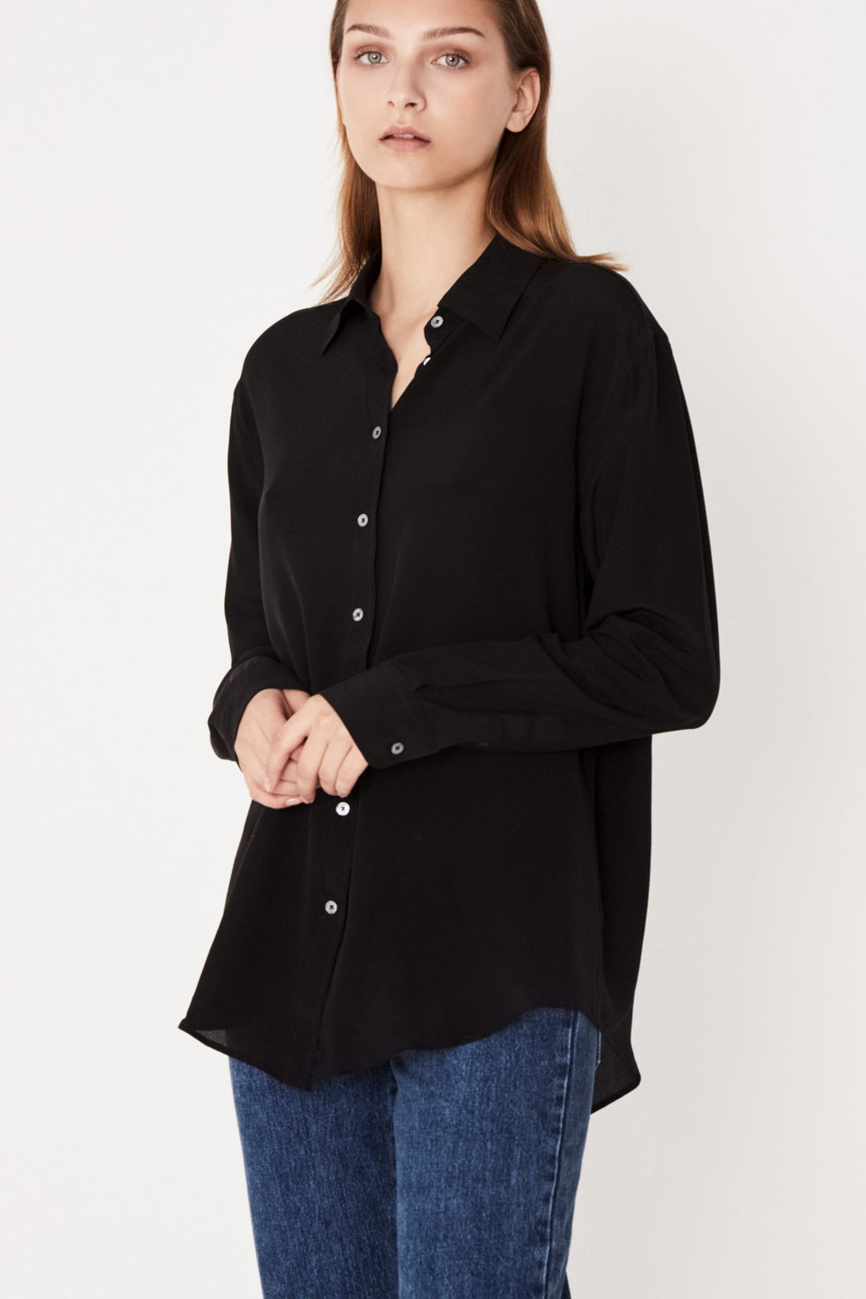 Essential Silk Shirt- Black