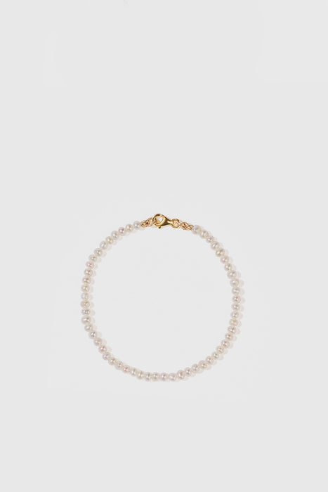 Micro Pearl Bracelet - 9ct Yellow Gold