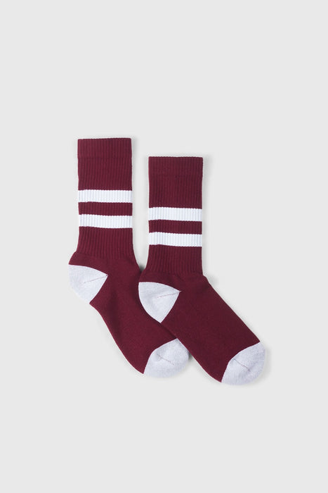 No. 014 - Maroon / White Stripe