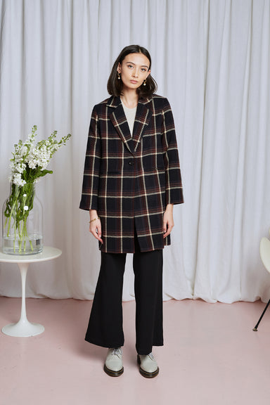 Darkness Coat - Black Plaid Wool