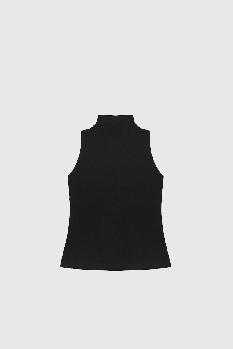 Fitted High Neck Tank - Black