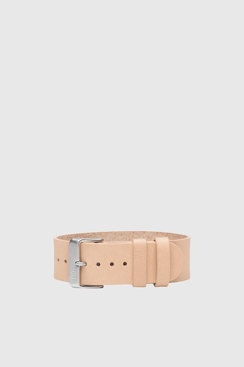 Natural Leather Wristband - Steel