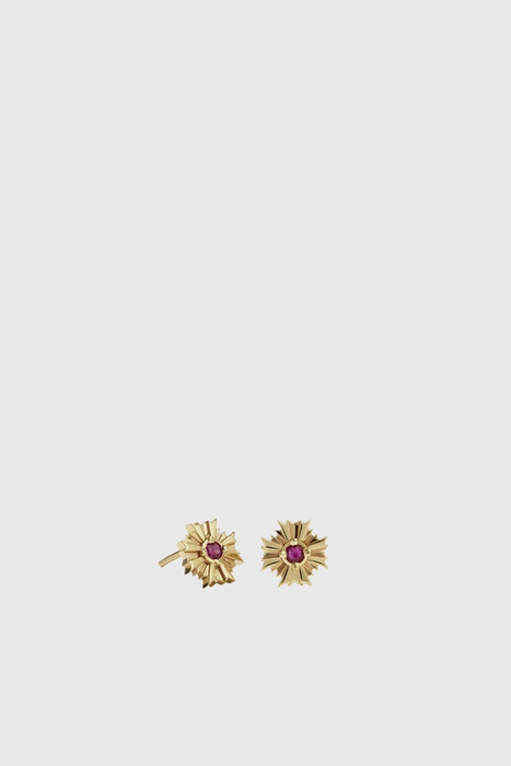 August Stud Earrings Stone Set - Gold Plated/Ruby
