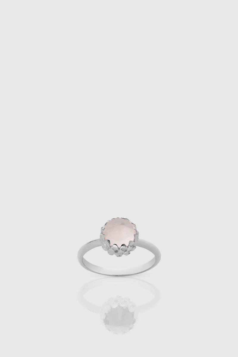 Mini Protea Ring - Sterling Silver/Rose Quartz