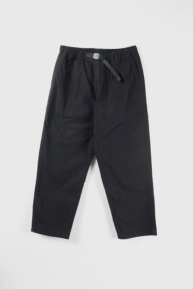 Back Satin Loose Tapered Pants - Black