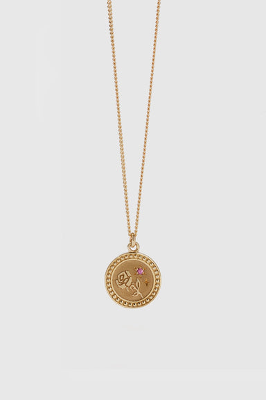 Amulet Love Necklace - Gold Plated / Pink Sapphire