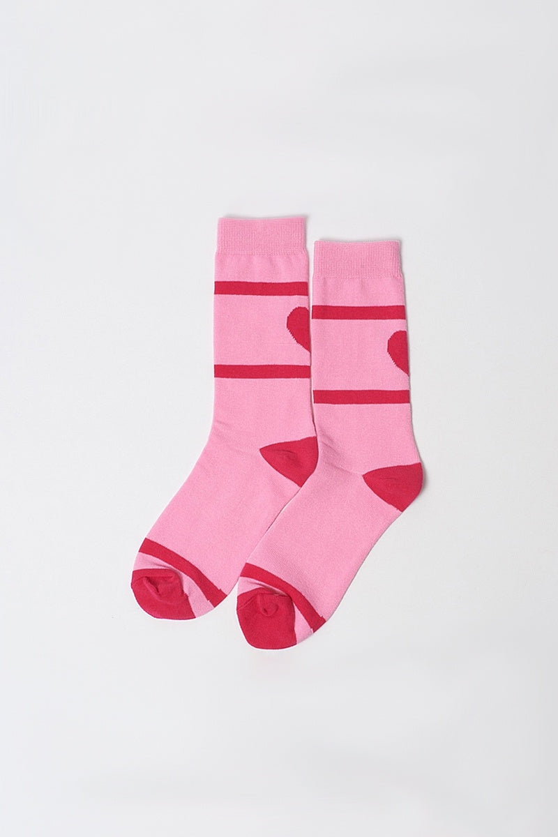Back of Hearts Socks - Pink