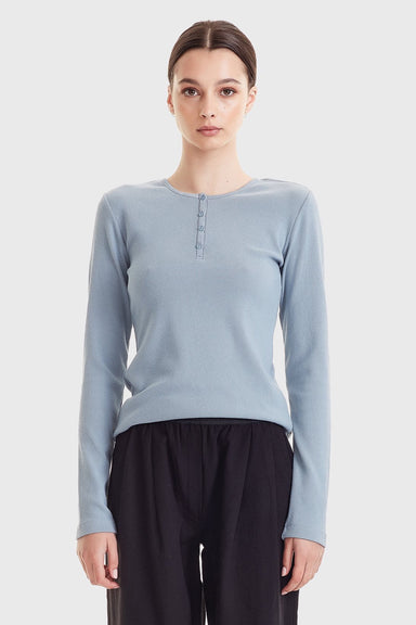Ribbed Henley LS - Dusky Blue