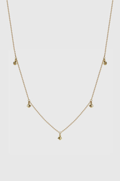 Bell 5 Charm Necklace - Gold Plated