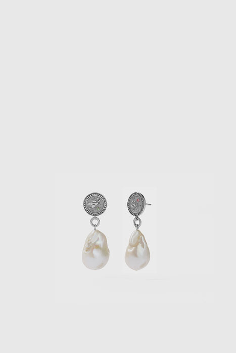 Amulet Pearl Drop Earrings - Sterling Silver / Pink & Green Sapphire