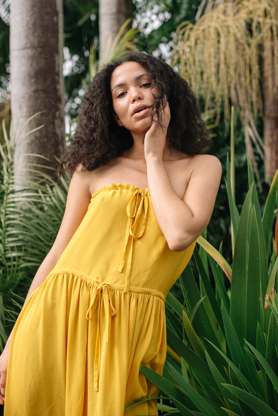 Drawstring Summer Dress - Yellow