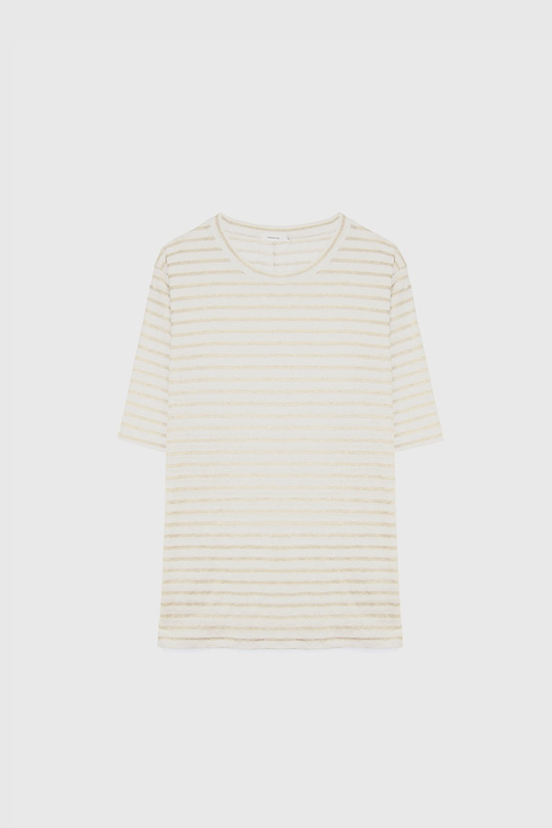 Luxe Linen Tee - Natural Stripe