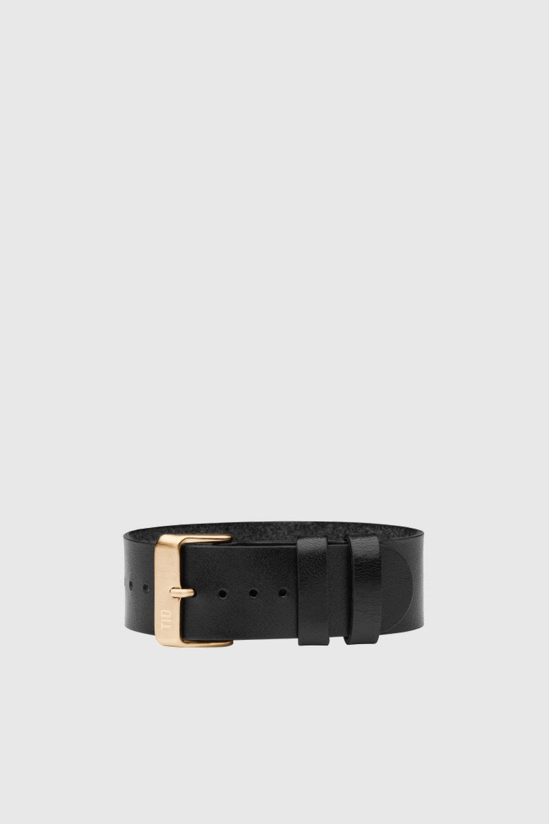 Black Leather Wristband - Gold