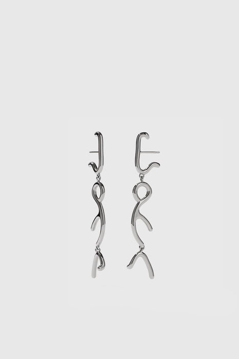 Sculpture Tiered Drop Earrings - Sterling Silver