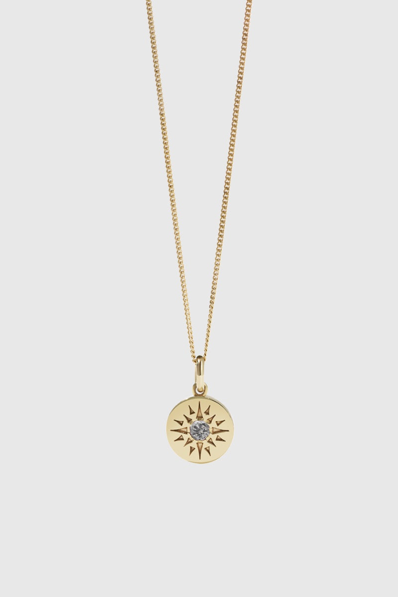 Ursa Necklace Medium - Gold Plated/Grey Diamond