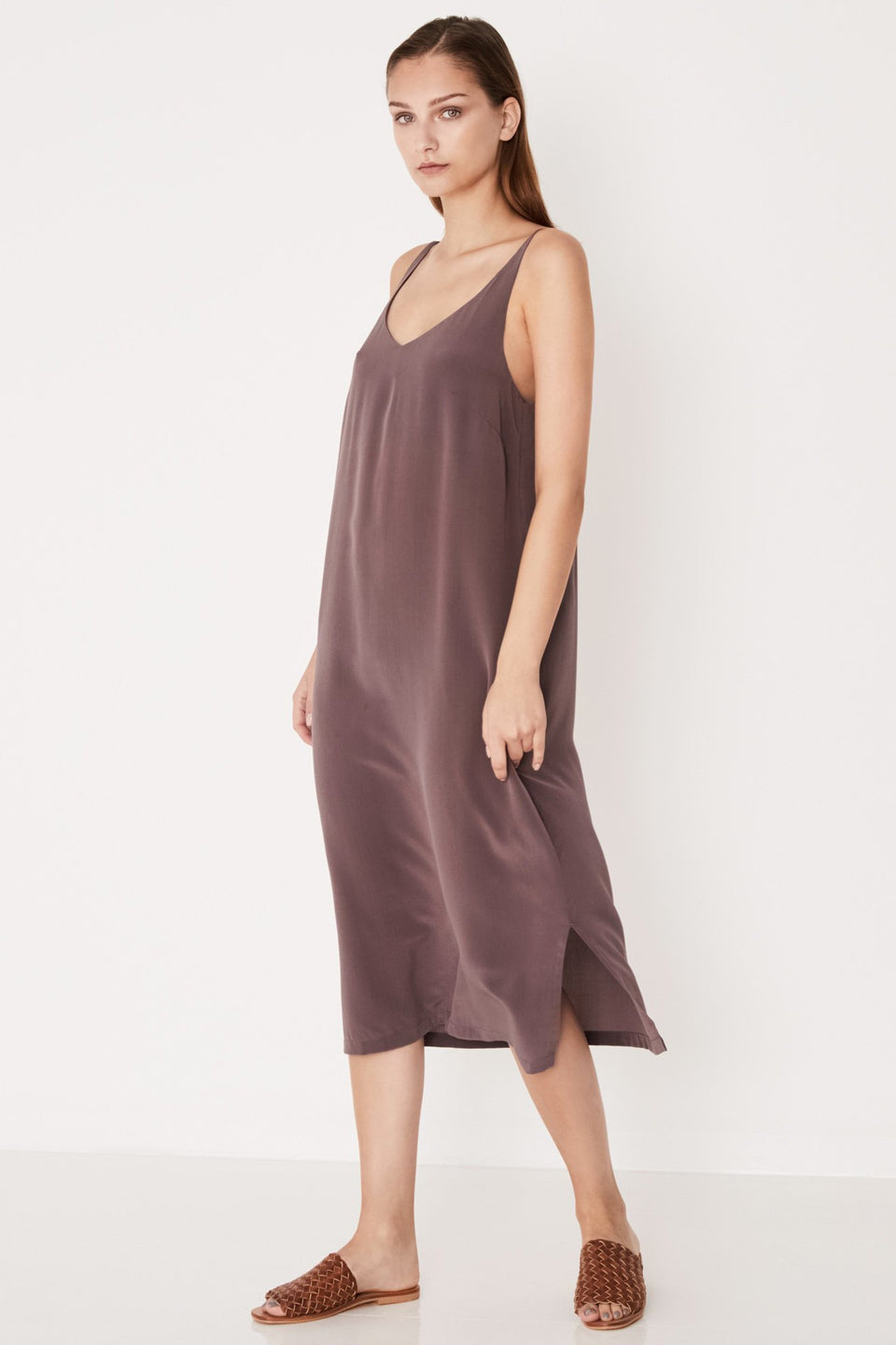Silk Deep V Cami Dress - Mauve