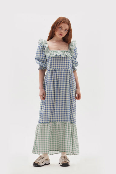 Frill Neck Gingham Dress - Blue
