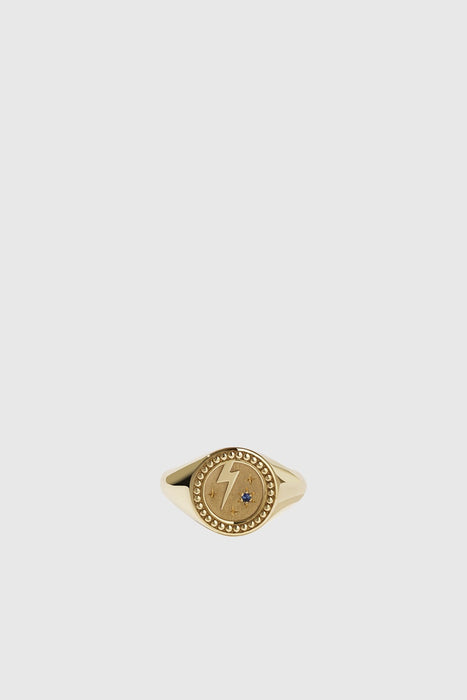 Amulet Strength Signet Ring - Gold Plated/ Blue Sapphire