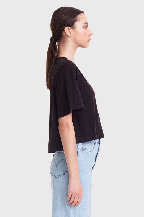Cropped Boy Tee - Black