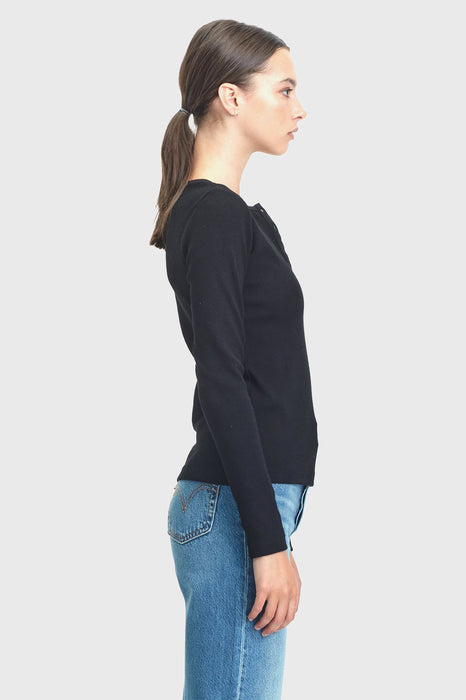 Ribbed Henley LS - Black