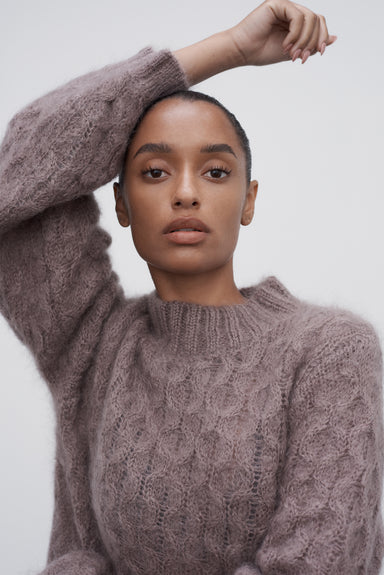 Mimi Honeycomb Jumper - Dusty Lavender