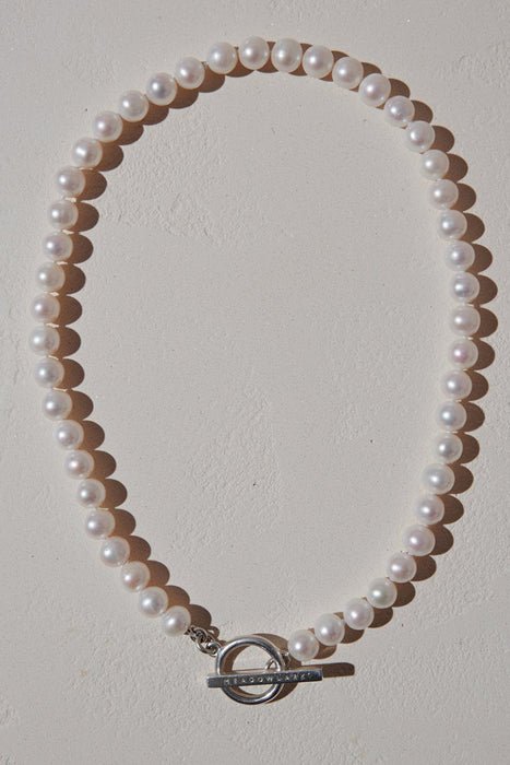Fob Pearl Necklace - Sterling Silver
