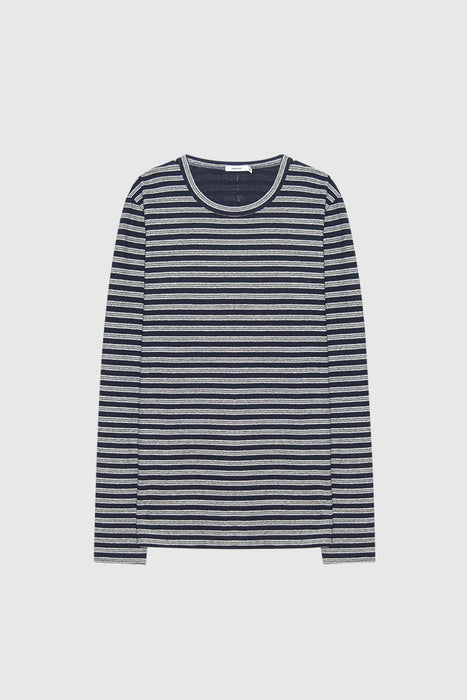 Double Stripe LS Tee - Navy