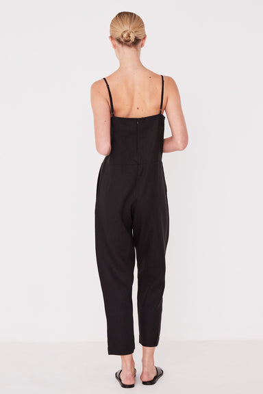 Linen Slip Jumpsuit - Black