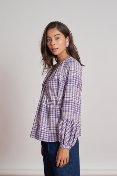 Brookline Blouse - Purple Check