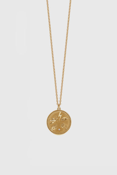 Talisman Necklace - Gold Plated / Reclaimed White Diamond