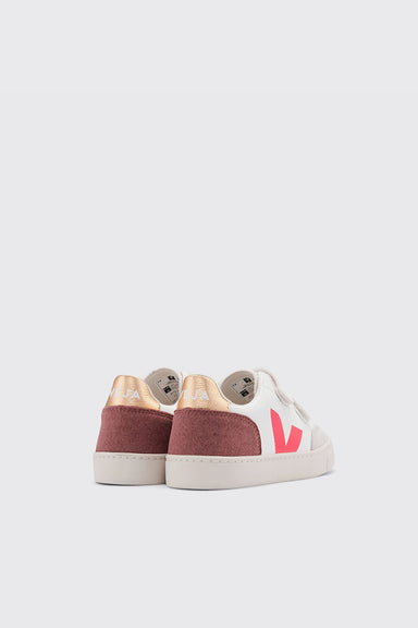Kids V-12 Velcro Leather - Extra White / Multico / Dried Petal
