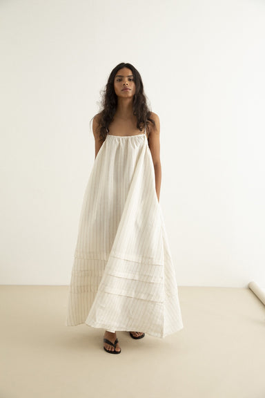 Dillon Dress - Ivory / Natural Stripe