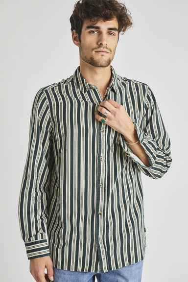 Men At Work Cord Shirt - Forest Stripe Natural/Green