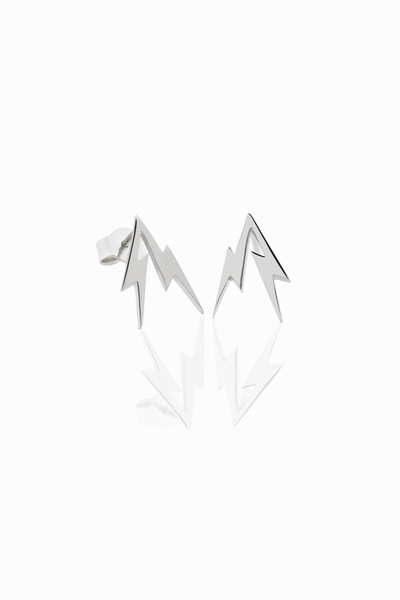 Thunder Bolt Stud Earrings - Silver