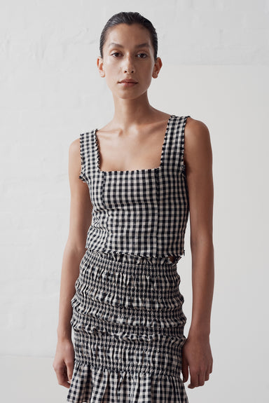 Eloise Top - Black / Natural Check