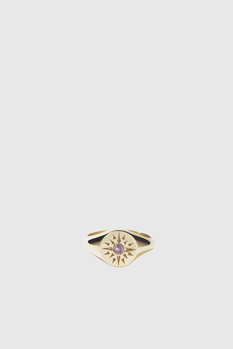 Ursa Signet Ring - Gold Plated/Pink Tourmaline