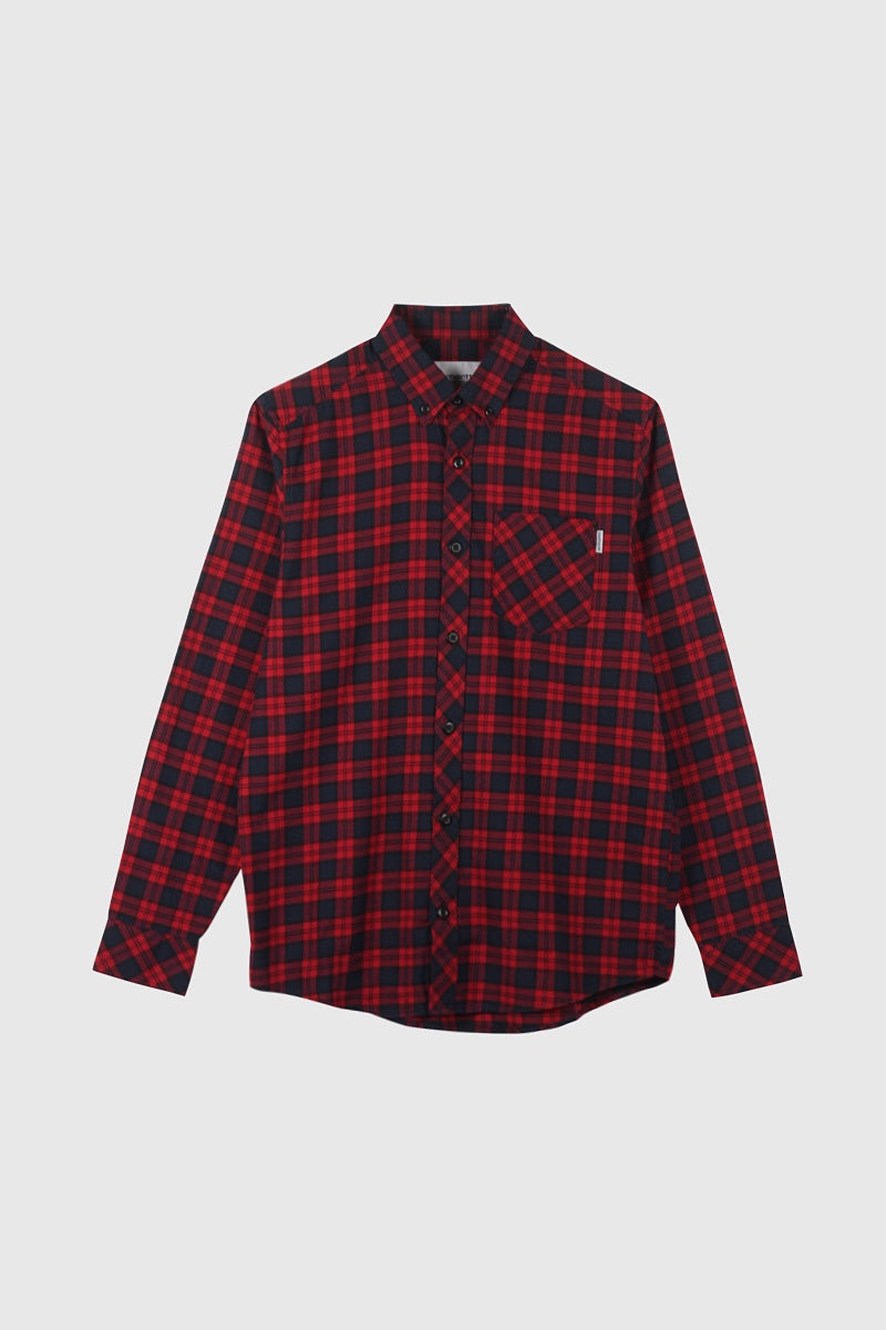 Long Sleeve Shawn Shirt - Check/Scarlet