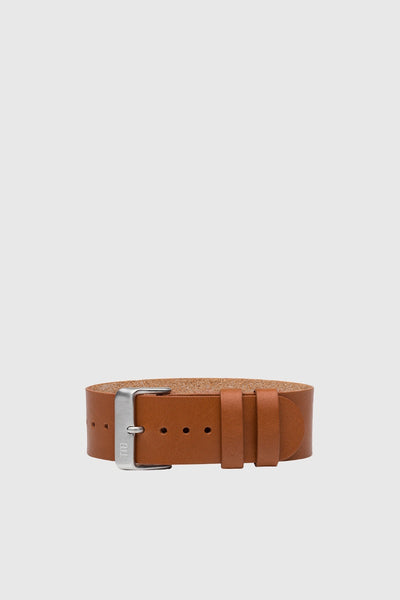 Tan Leather Wristband - Steel